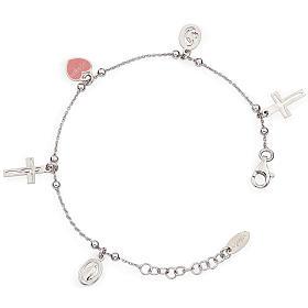 AMEN bracelets: Amen bracelet with charms, Jesus, Our Lady, Pink heart, sterling