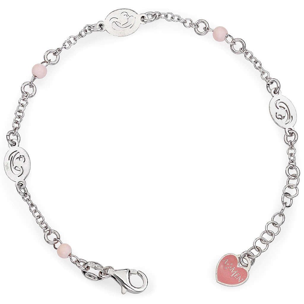 Bracelet AMEN Vierge avec petites perles roses Argent 925 4