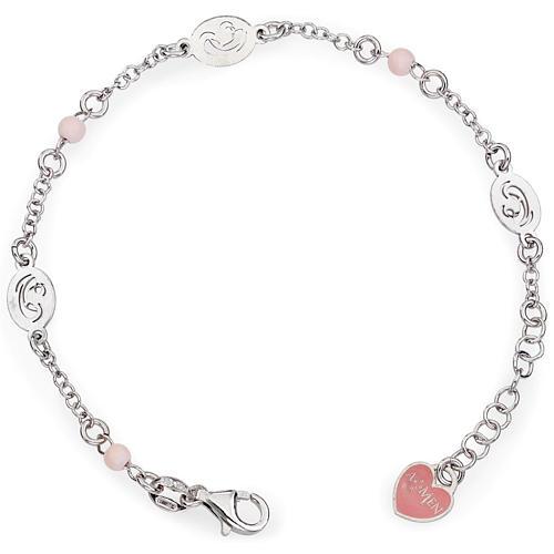 Bracelet AMEN Vierge avec petites perles roses Argent 925 1