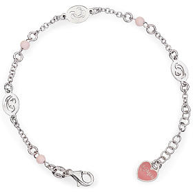 AMEN bracelets: Amen bracelet with Our Lady and pink beads, sterling silver