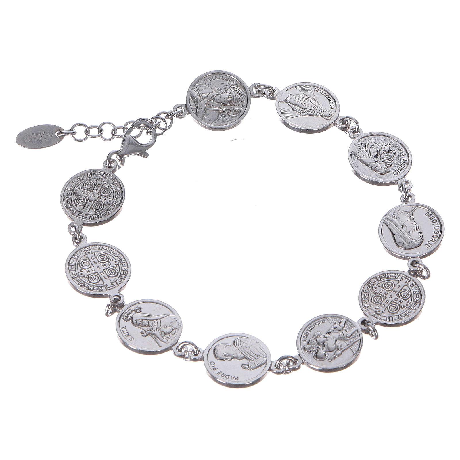 Bracelet AMEN médailles des Saints Argent 925 4