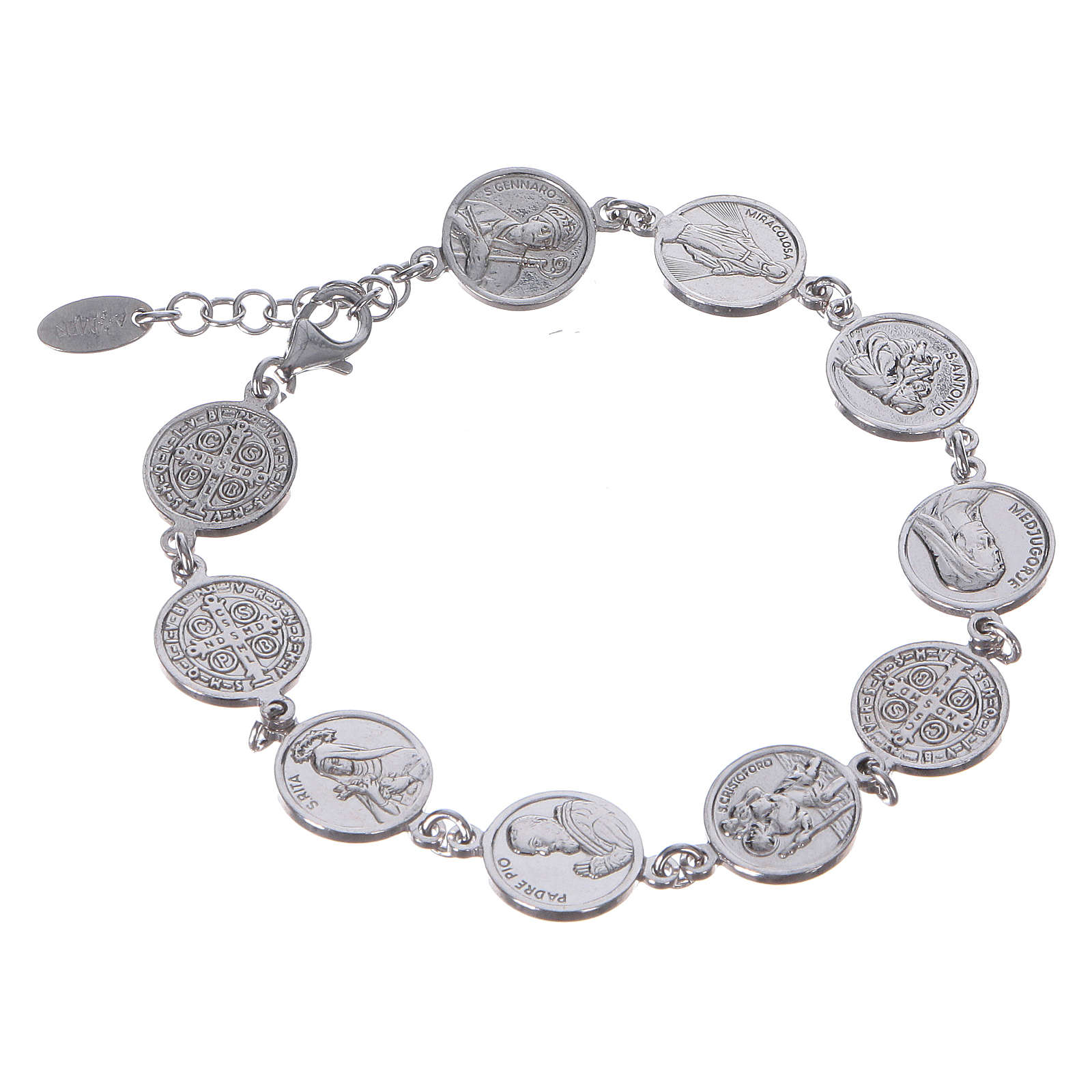 Amen bracelet with Saints medals in Sterling silver 4