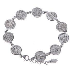 Amen bracelet with Saints medals in Sterling silver s1