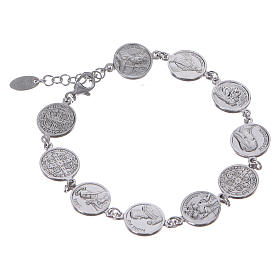Amen bracelet with Saints medals in Sterling silver s2