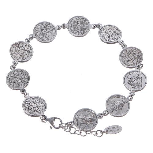 Amen bracelet with Saints medals in Sterling silver 1