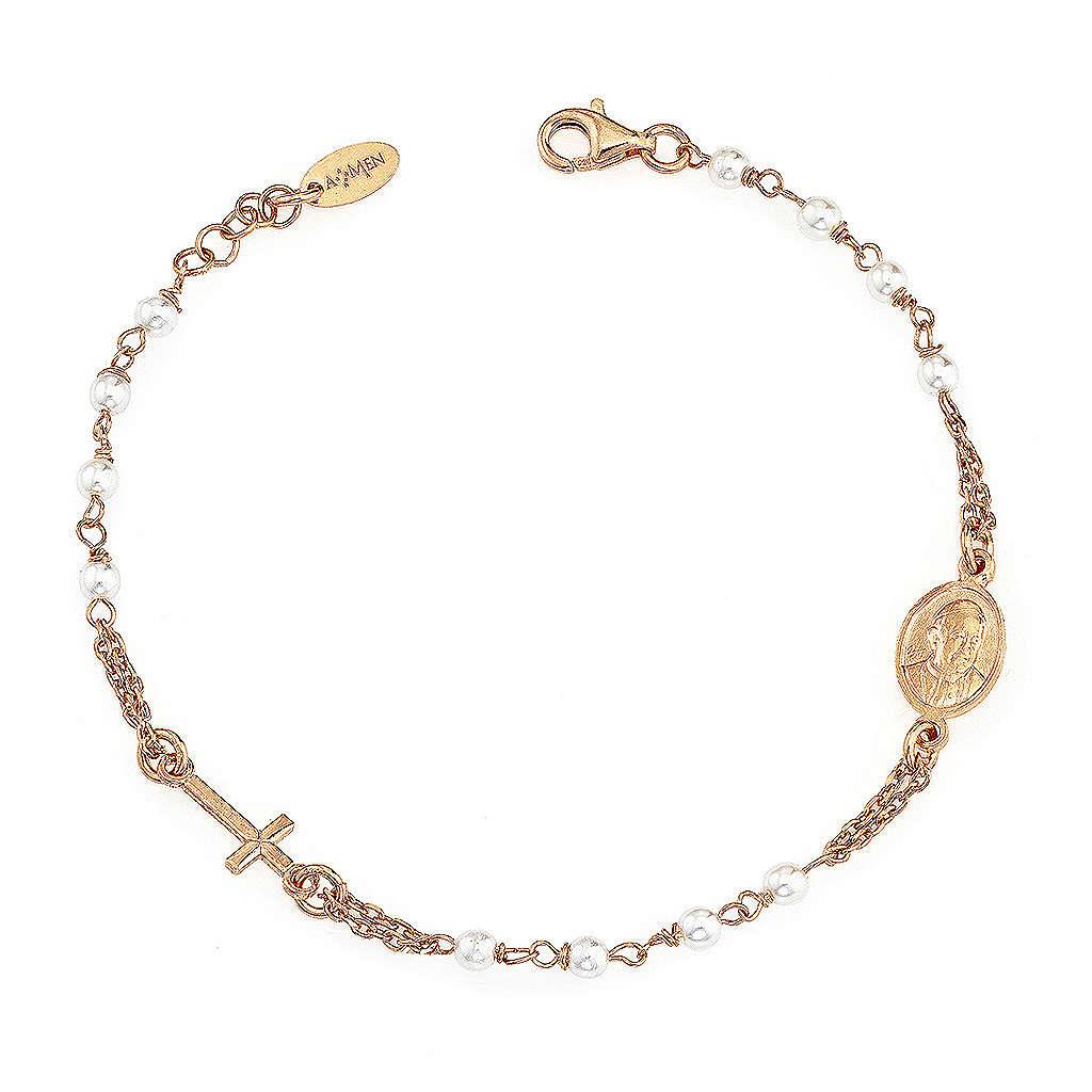 STOCK Bracelet AMEN Rosary Jubilee silver 925 Swarovski, Rosè finish 4