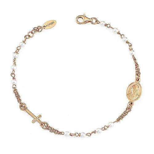STOCK Bracelet AMEN Rosary Jubilee silver 925 Swarovski, Rosè finish 1