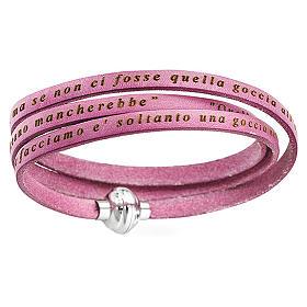 AMEN Bracelet Mother Teresa phrase ITALIAN, pink s1