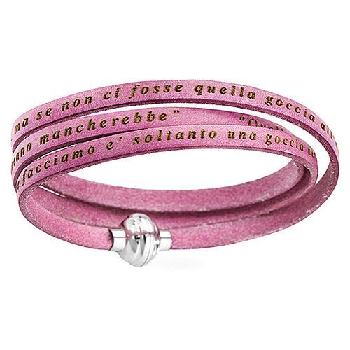 AMEN Bracelet Mother Teresa phrase ITALIAN, pink 1