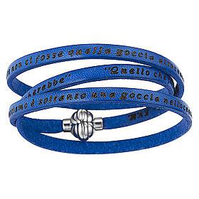 AMEN bracelets: AMEN Bracelet Mother Teresa phrase ITALIAN, blue