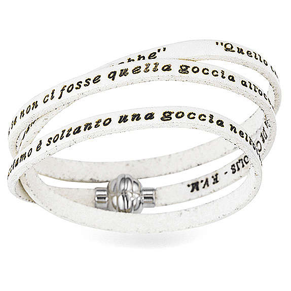 Bracelet AMEN phrase Mère Teresa de Calcutta ITA blanc 4
