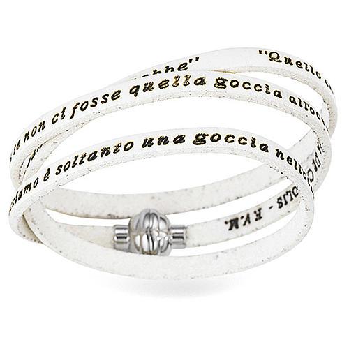Bracelet AMEN phrase Mère Teresa de Calcutta ITA blanc 1