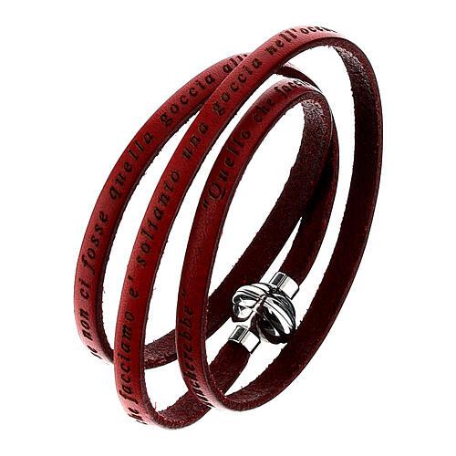 AMEN Bracelet Mother Teresa phrase ITALIAN, red 1