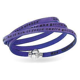 AMEN Bracelet Mother Teresa phrase ITALIAN, violet s1