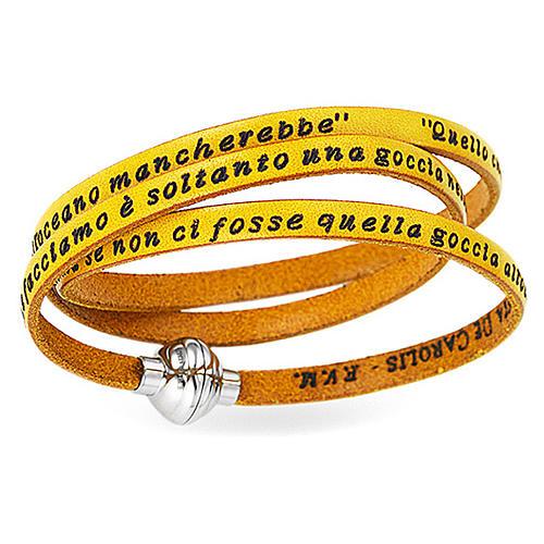 AMEN Bracelet Mother Teresa phrase ITALIAN, yellow 1