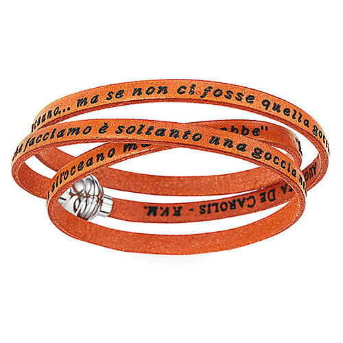 AMEN Bracelet Mother Teresa phrase ITALIAN, orange 1