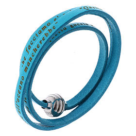 AMEN bracelets: AMEN Bracelet Mother Teresa phrase ITALIAN, turquoise