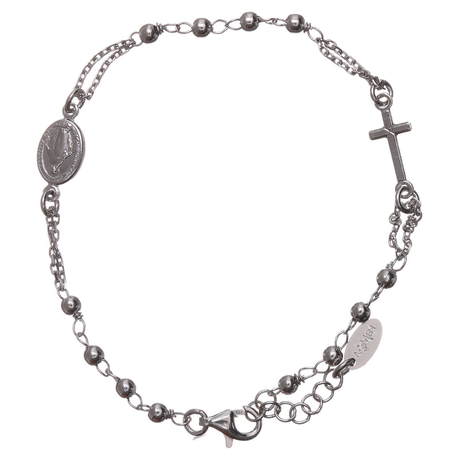 Rosary AMEN Bracelet rhodium-plated silver 925 4