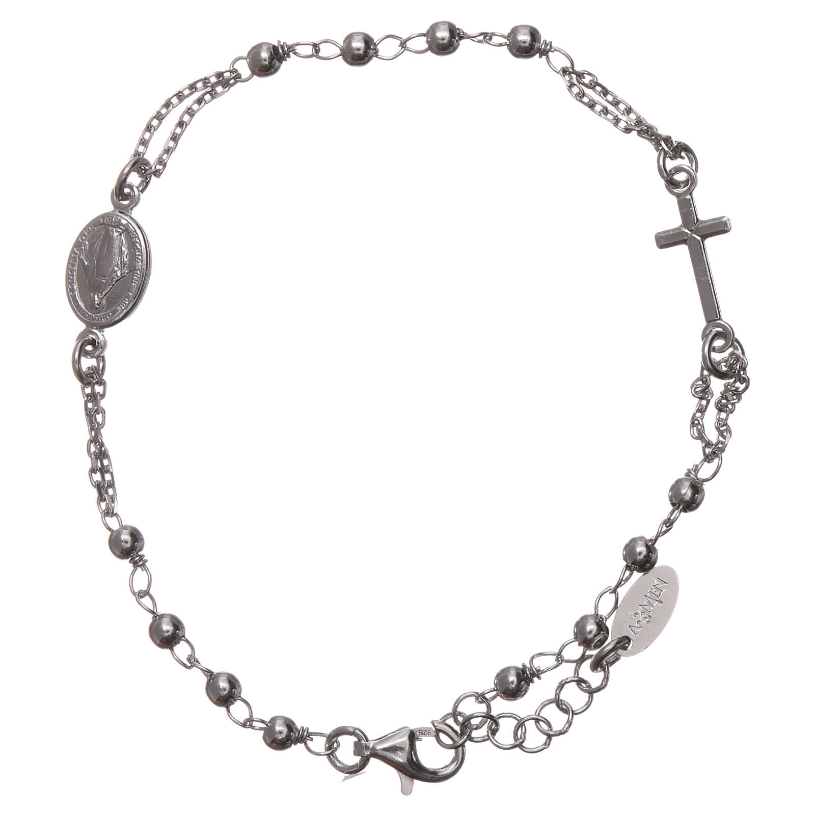 Bracelet chapelet AMEN argent 925 fin. rhodium 4