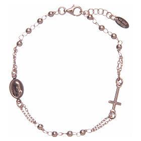 Pulsera rosario AMEN plata 925 acabado rosado s1