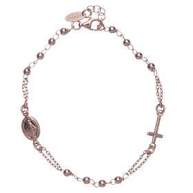 Pulsera rosario AMEN plata 925 acabado rosado s2