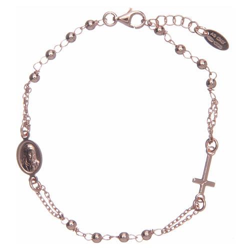 Pulsera rosario AMEN plata 925 acabado rosado 1