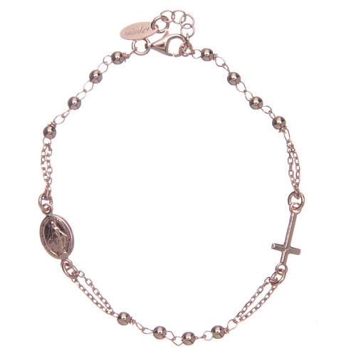 Pulsera rosario AMEN plata 925 acabado rosado 2