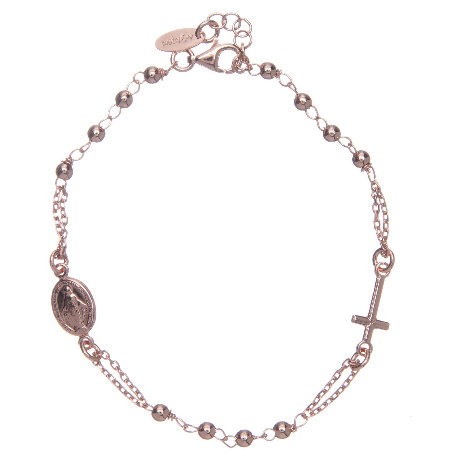 Bracelet chapelet AMEN argent 925 fin. rosée 4