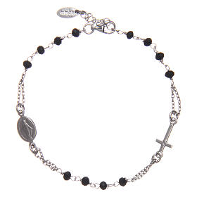 Rosary AMEN Bracelet silver 925 black crystals, Rhodium finish s1