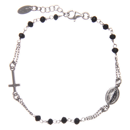 Rosary AMEN Bracelet silver 925 black crystals, Rhodium finish 2