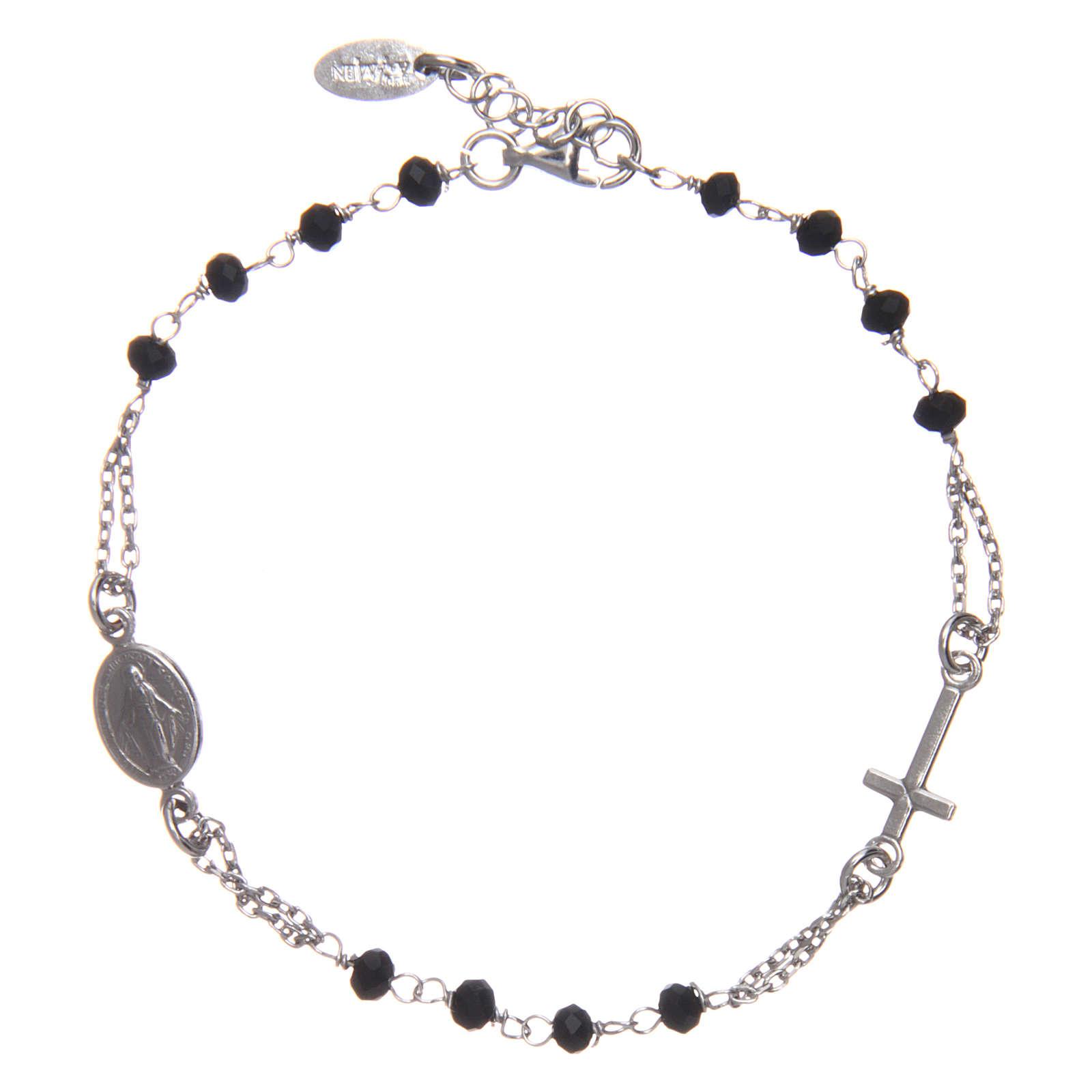 Pulsera rosario AMEN plata 925 cristales negros acabado Rosio 4