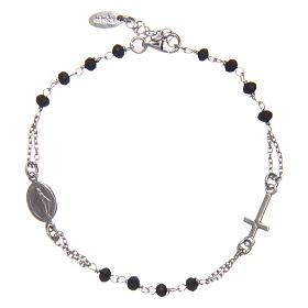 Pulsera rosario AMEN plata 925 cristales negros acabado Rosio s1