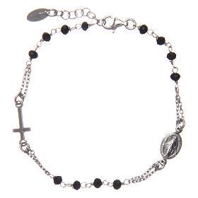Pulsera rosario AMEN plata 925 cristales negros acabado Rosio s2