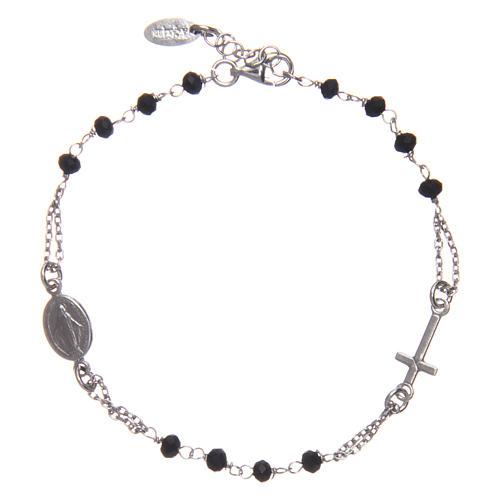 Pulsera rosario AMEN plata 925 cristales negros acabado Rosio 1