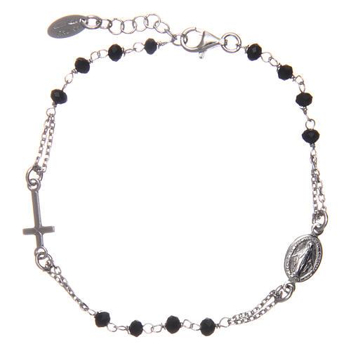 Pulsera rosario AMEN plata 925 cristales negros acabado Rosio 2