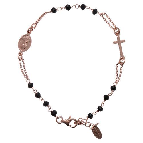 Pulsera rosario AMEN plata 925 cistales negros acabado rosado 1