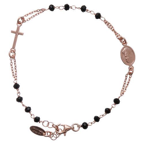 Pulsera rosario AMEN plata 925 cistales negros acabado rosado 2