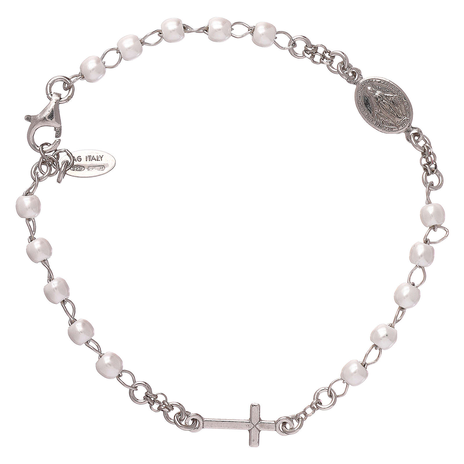 Rosary AMEN Bracelet with silver 925 beads, Rhodium finish 4