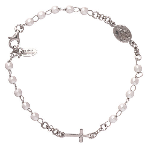 Rosary AMEN Bracelet with silver 925 beads, Rhodium finish 1