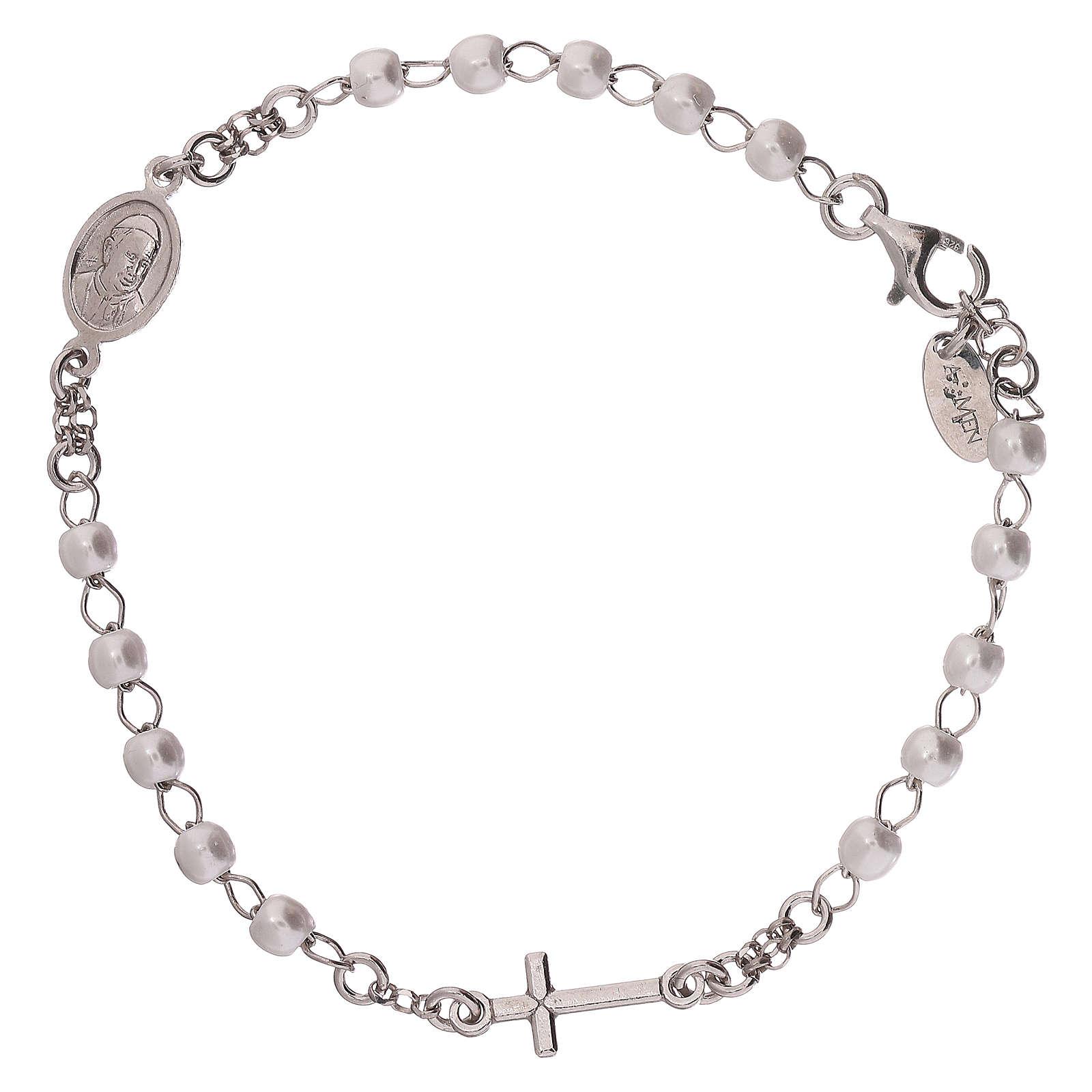 Bracelet chapelet AMEN avec perles argent 925 fin. rhodium 4