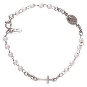 Bracelet chapelet AMEN avec perles argent 925 fin. rhodium s1