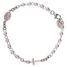 Bracelet chapelet AMEN avec perles argent 925 fin. rhodium s2