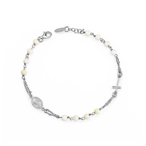 Bracelet chapelet AMEN avec perles argent 925 fin. rhodium 1
