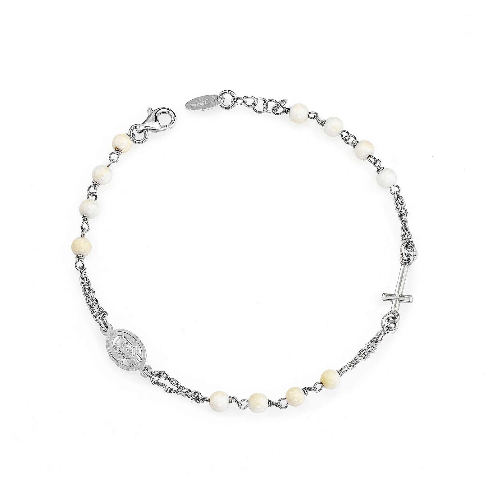 Bracciale rosario AMEN con perle argento 925 fin. Rodio 4