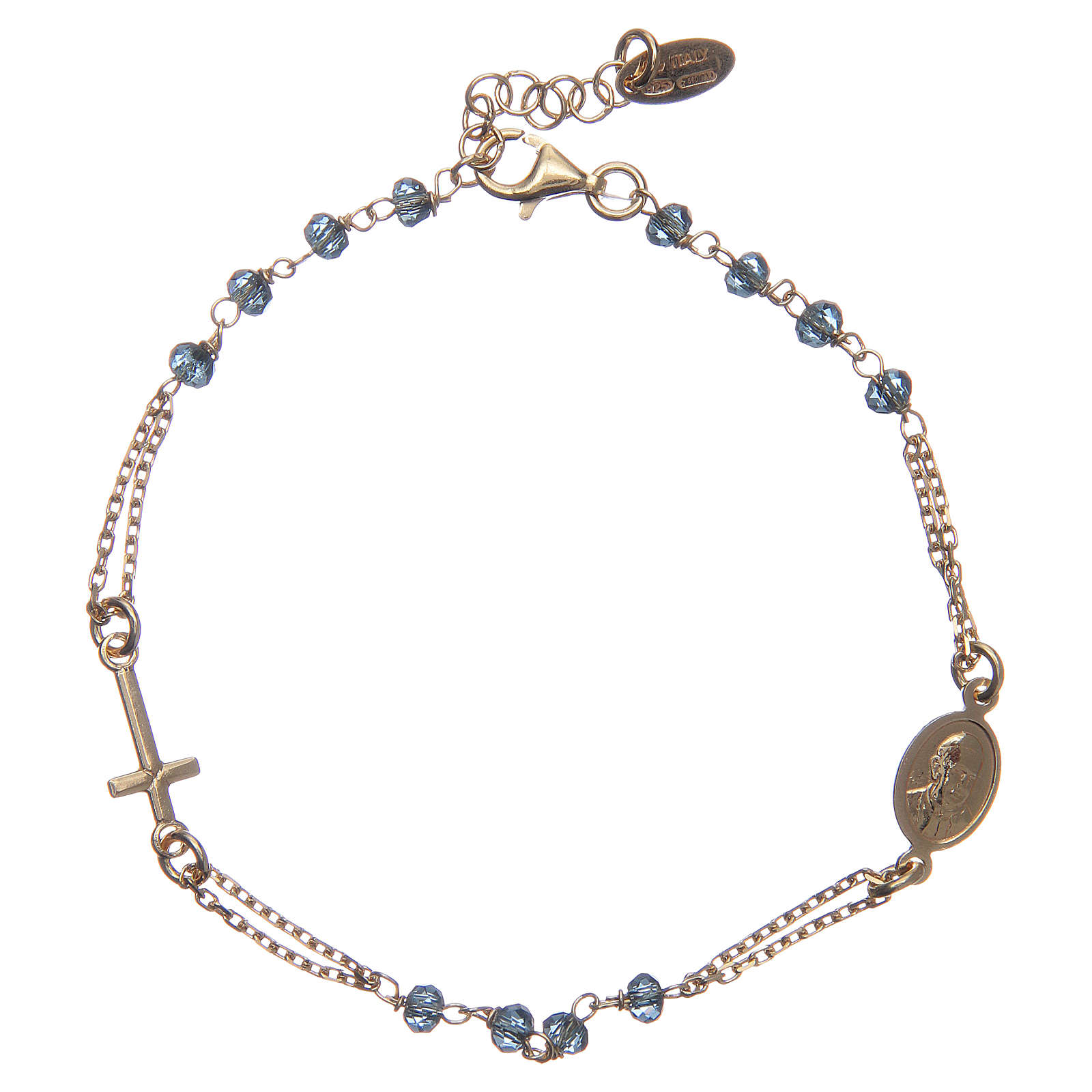 Bracelet chapelet AMEN argent 925 cristaux bleus fin. or 4