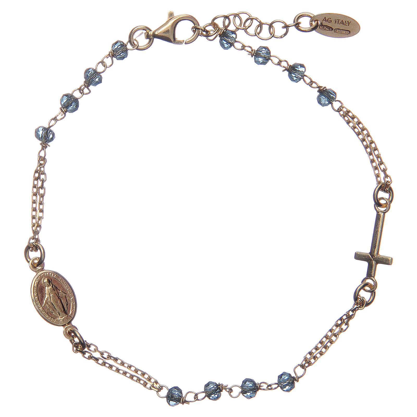 Bracciale rosario AMEN cristalli blu arg 925 fin. Giallo 4