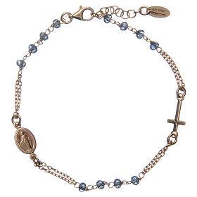 Bracciale rosario AMEN cristalli blu arg 925 fin. Giallo s1