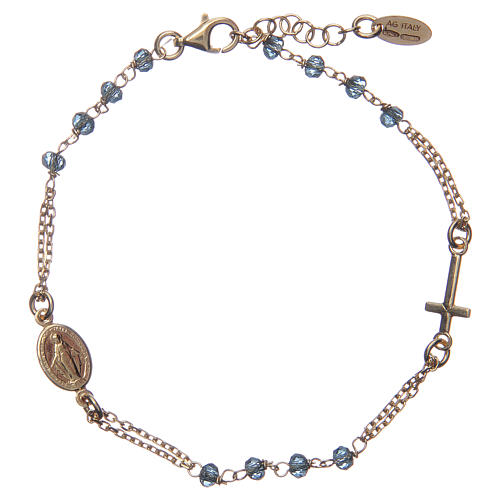 Bracciale rosario AMEN cristalli blu arg 925 fin. Giallo 1