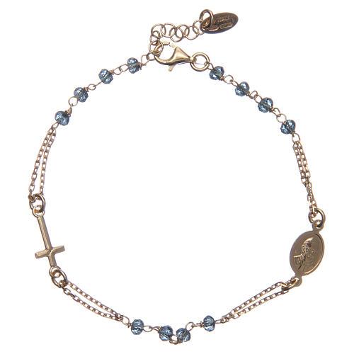 Bracciale rosario AMEN cristalli blu arg 925 fin. Giallo 2