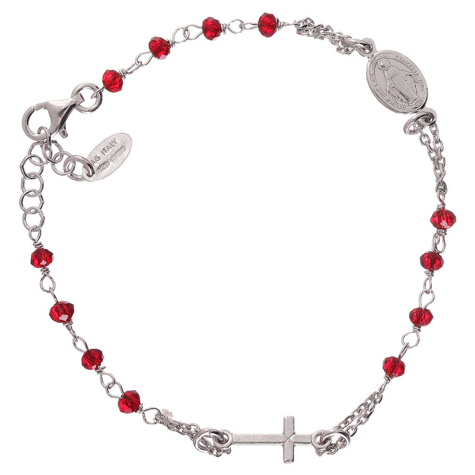 Pulsera rosario AMEN color coral plata 925 acabado Rodio 4